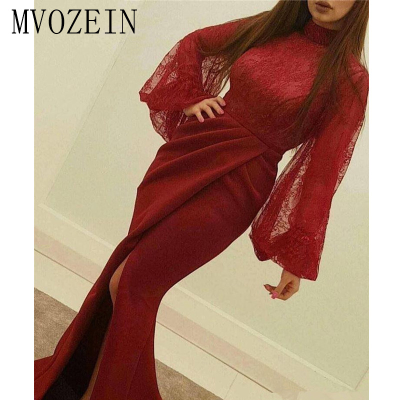 Sexy Prom Gowns Lace Bodice Front Slit Robe De Soiree Mermaid Burgundy Formal Dress 2019 Long Sleeve Evening Dress