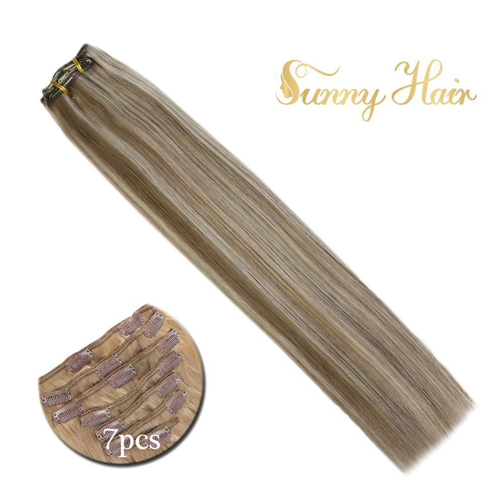 VeSunny Double Weft Clip In Hair Extensions Human Hair 7pcs Clip On Extensions Highlighted Color Light Brown Mix Blonde #8A/60