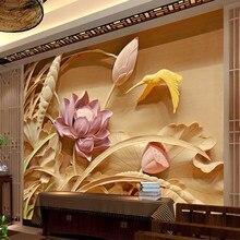 Lótus 3d estéreo profunda textura de madeira esculturas tv fundo da parede ao ar livre 3d mural papel para sala estar decoração da sua casa