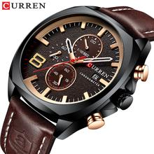 CURREN wojskowy zegarek kwarcowy mężczyźni sport 3 Sub wybierania Rose złoty data brązowa prawdziwa skóra zegarek Relogio Masculino mężczyzna godzina tanie tanio T-WINNER 24cm Moda casual QUARTZ 3Bar Sprzączka CN (pochodzenie) STOP 14mm Hardlex Kwarcowe zegarki bez opakowania Skórzane