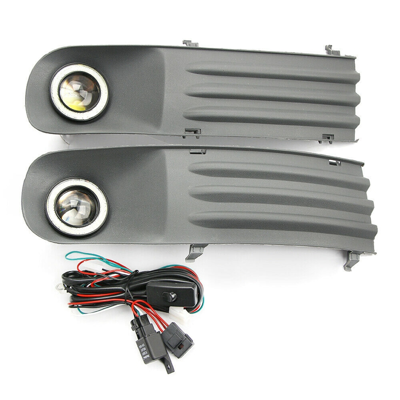 Car Fog Lights Lamps Angel Eye Grilles +Harness For <font><b>Vw</b></font> Transporter <font><b>T5</b></font> T28 T30 2003-2009 image