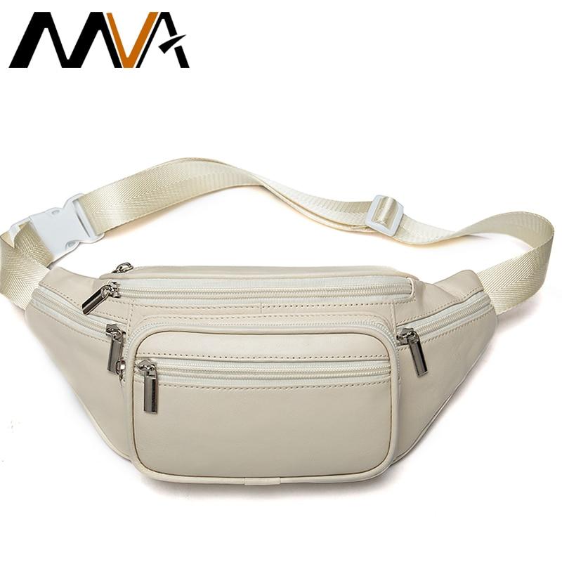 MVA Genuine Leather Belt Bag Women's Waist Bags For Women Fanny Pack Female Waist Pack Belt Waist Bag Woman Phone Bags Bumbag