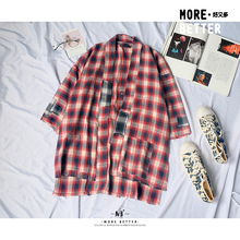 2019 Chic Couple INS Super Fire Open Button Shirt Harajuku Japanese Hip Hop Checkered Trend Loose Coat Mens Shirts Autumn 30CS checkered open front collarless coat