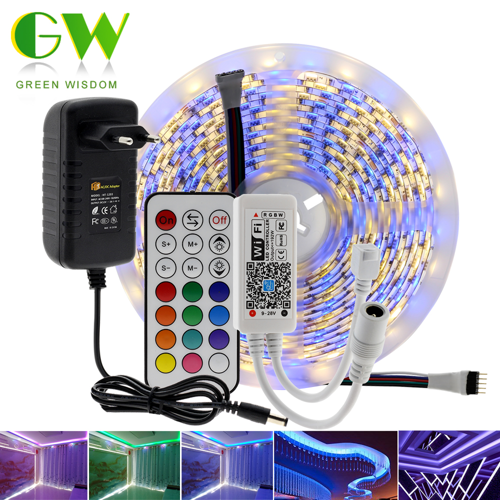 5M Smart RGB RGBW LED Strip Light 5050 DC12V WIFI Bluetooth RGB Tape Neon Ribbon + WIFI / Bluetooth Controller + Power Adapter