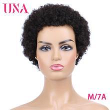 UNA короткие парики из человеческих волос, не Remy человеческие волосы парики 120% Плотность перуанский Джерри локон человеческих волос афро парики для Для женщин Средний соотношение