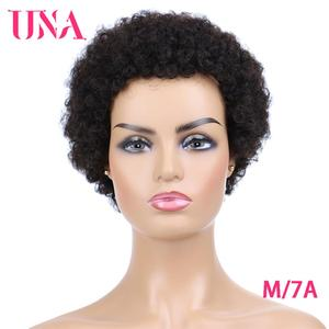 UNA Short Human Hair Wigs Non-Remy Human Hair Wigs 120% Density Peruvian Jerry Curl Human Hair Afro Wigs For Women Middle Ratio(China)