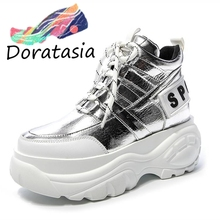 DORATASIA 2019 New Autumn Sweet Girl lace-up Flat Platform Shoes Man Fashion Shining Bling Footwear Casual Flats Women цены онлайн