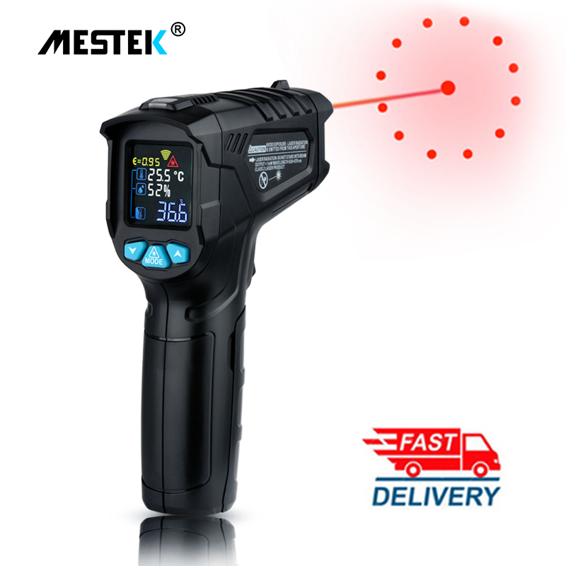 MESTEK Infrared Thermometer -50~800C Digital Humidity Meter Hygrometer 12 Point Temperature Test Area IR Laser Thermometer