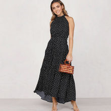 Spring Summer 2020 Fashion Sexy Sleeveless Polka Dots Maxi Dress Ankle-Length Lace Up Bohemian Sundress Women Beachwear Travel(China)