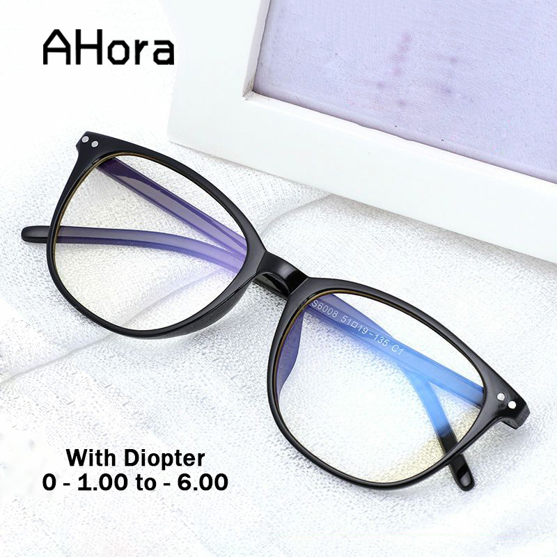 Ahora Anti Blue Light Ray Finished Myopia Glasses Frame For Women Men Computer Glasses Diopter 0 -1.0 1.50 2 2.5 3 3.5 4 4.5 5 6