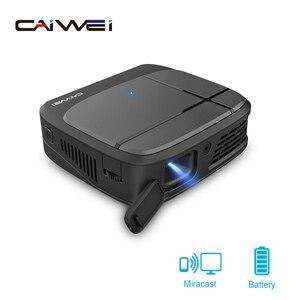 Image 1 - Caiwei H6AB フル hd ミニ dlp プロジェクタースマート bluethood 4.0 アンドロイド 7.1.2 os protable のビデオ led ホームシネマ 4 18k ビーマー wifi 5 グラム