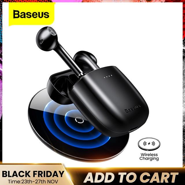 Baseus W04 TWS słuchawki Bluetooth 5.0 prawdziwe bezprzewodowe słuchawki douszne słuchawki stereofoniczne dla Xiaomi zestaw głośnomówiący w uchu telefon sportowy zestaw słuchawkowy