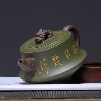 Undressed ore column teapot mud green yixing kettle creative pot drinkware