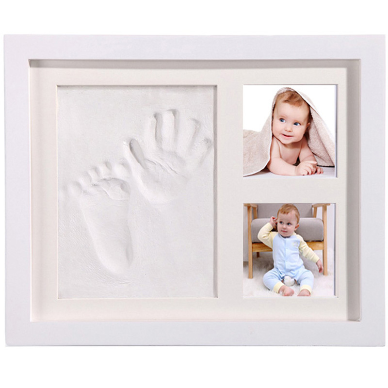 Baby Hand Foot Print Photo Frame Baby Photo Frame With Mold Clay Imprint Kit Baby Souvenirs Commemorate Kids Growing Memory Gift