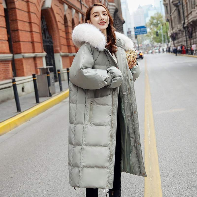 Real Raccoon Fur Collar 2020 Women Winter Jacket White Duck Down Jacket Thick Long Down Coat Female Hooded Parka