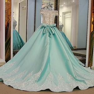 Image 2 - LS21700 New ball gown evening dresses lace up back back short sleeves lace formal evening gowns dresses light green real photos