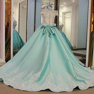 Image 2 - LS21700 חדש כדור שמלת ערב שמלות תחרה עד בחזרה חזרה קצר שרוולי תחרת הערב רשמי שמלות שמלות אור ירוק אמיתי תמונות