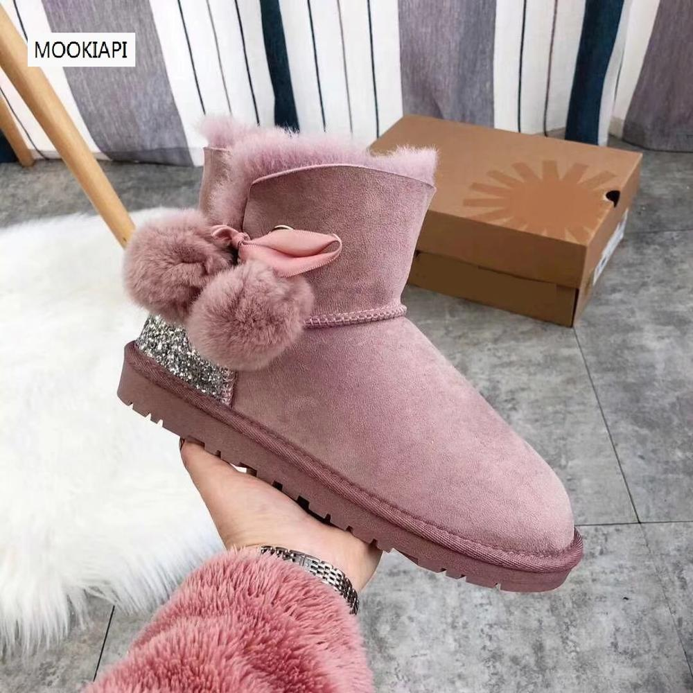 Australia's top quality snow boots in 2019, real sheepskin, 100% natural wool, four colors, free delivery, short women's shoes