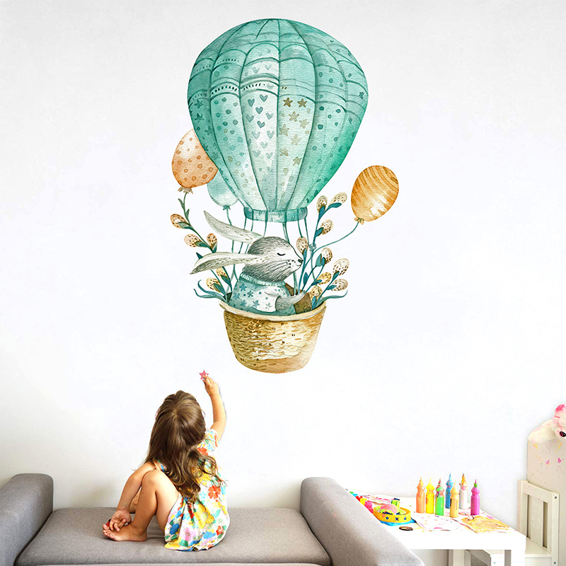 Watercolor Green Rabbit Hot Air Balloon Wall Stickers For Kids Room Bedroom Home Decor Wall Decals Baby Nursery Home Decoration