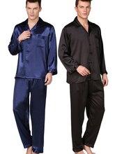 Mens Pajamas Set Silk Satin Long Sleeve Solid Pyjamas Sleepwear Lounge wear  Plus Size