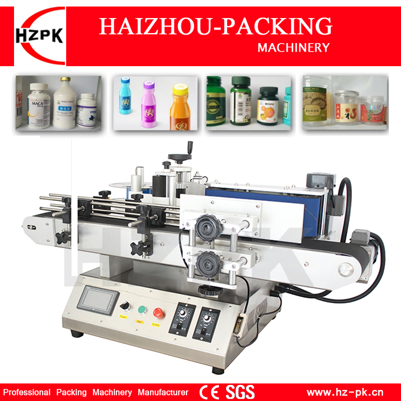 HZPK Small Automatic Round Bottle Labeling Machine Tabletop Type Labeler Food Make-up Wine Plastic Bottle Labeling Deskatop Type