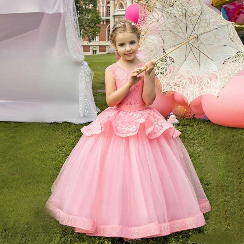 Robe de princesse élégante robe de fille de fleur en Tulle gonflé avec perles ceinture ruban fermeture à glissière dos sur mesure enfants robes de reconstitution historique Longo