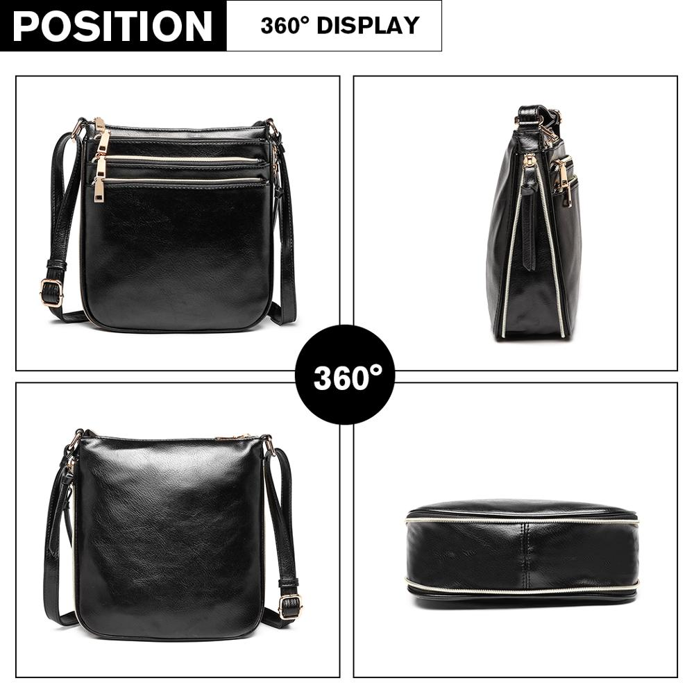 Miss Lulu Women's PU Leather Crossbody Bag Shoulder Small Satchel Bags For Lady Expand Capacity Design