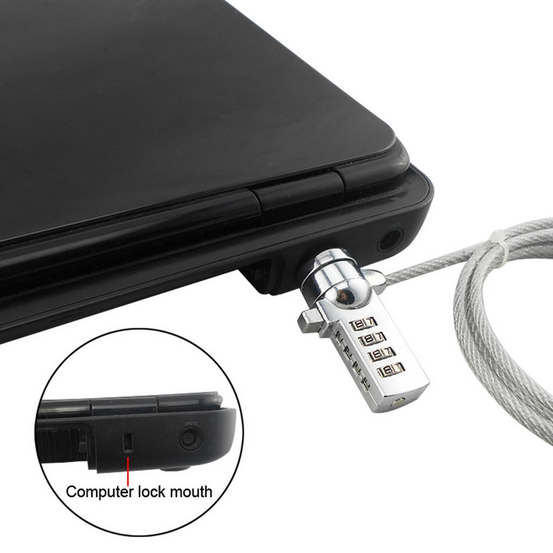 4-значный защищенный пароль, компьютерный замок, противоугонная цепь для ноутбука, ноутбука, Противоугонный замок