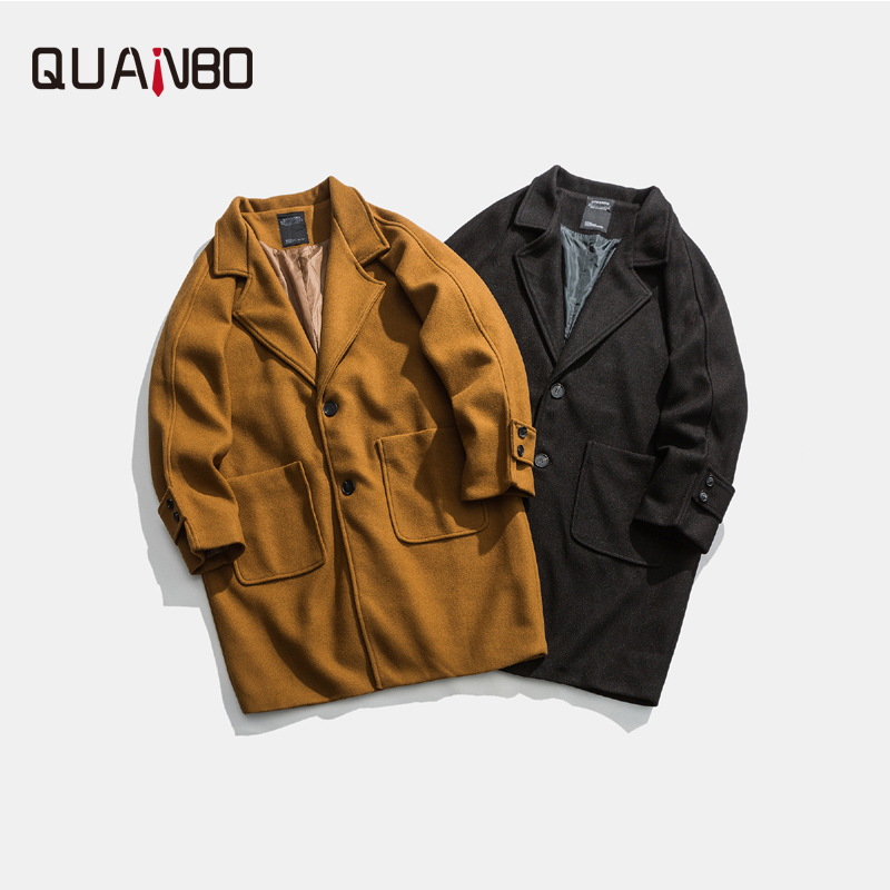 QUANBO 2020 Autumn Winter New Men's Loose Woolen Pea Coat X-Long Single Breasted Solid Color Coats Men Korean Overcoat 5XL