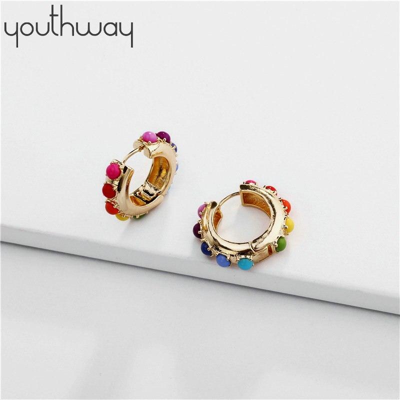 Rainbow Pearl Hoop Earring White Black Pearl Small Huggie Hoop Earrings Minimal Charming Earrings Stud Thin Hoops Gift