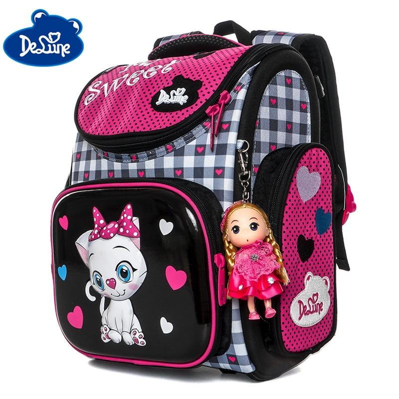 Delune 3D Cartoon School Bags For Gilrs Cat Pattern Backpack Children Orthopedic Backpacks Students Bookbag Mochila Grade 1-3