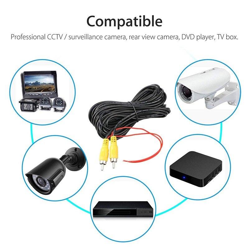 6 м видео кабель для автомобиля камера заднего вида Универсальный RCA 6 м провод для подключения камеры заднего вида с автомобильным мультимедийным монитором