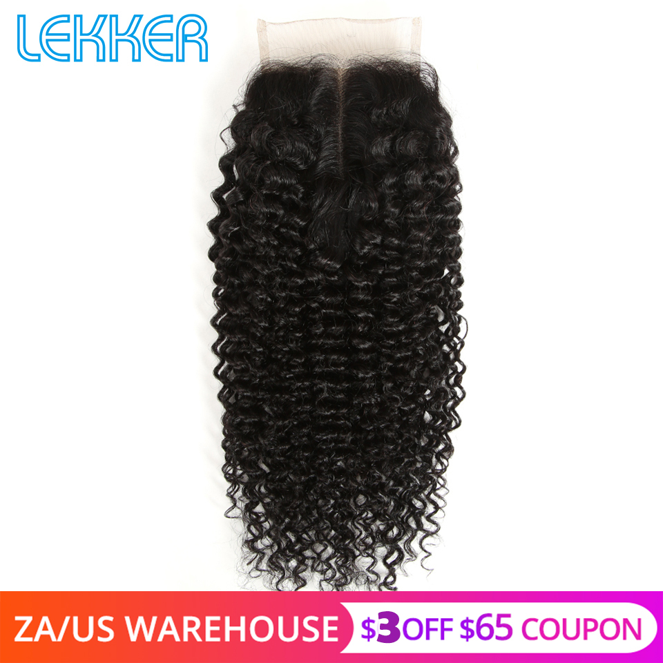 Lekker Malaysian 4X4 Lace Closure Human Hair Extensions Curly Human Hair Closures Remy Hair Swiss Lace Closures Natural Color