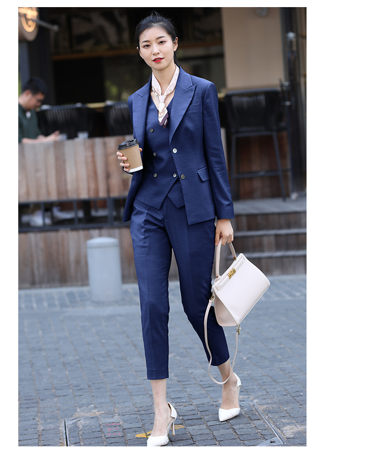 JRHYME New High End Three Pieces Set Lady Casual Blazer Vest Tapered Pants,Blue Black Formal Work Attire,Women Suits Set