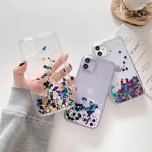 Clear Case Spin-Waterfall iPhone Soft-Silicone for Liquid-Sequins-Cover Neon 12-Pro 8-Plus