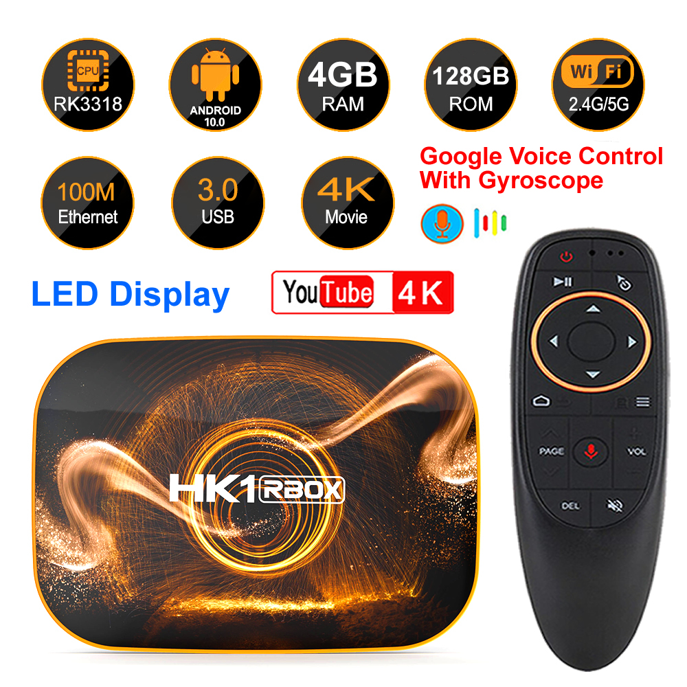 HK1 RBOX R1 Android 10 Smart TV BOX Rockchip RK3318 4GB 128GB 2.4G&5G Dual WIFI BT4.0 4K H.265 HDR Youtube Netflix Set Top Box