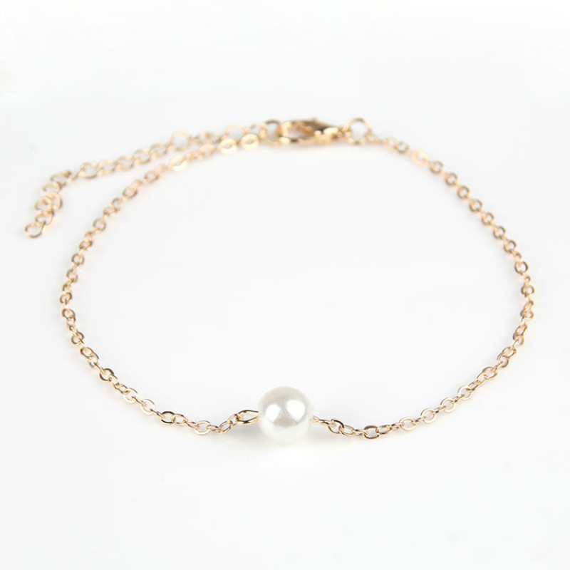 Simple Pearl Bracelets for Women Gold Silver color Resizable Chain Beads Charms Bracelet Fashion Jewelry Exquisite Accessories