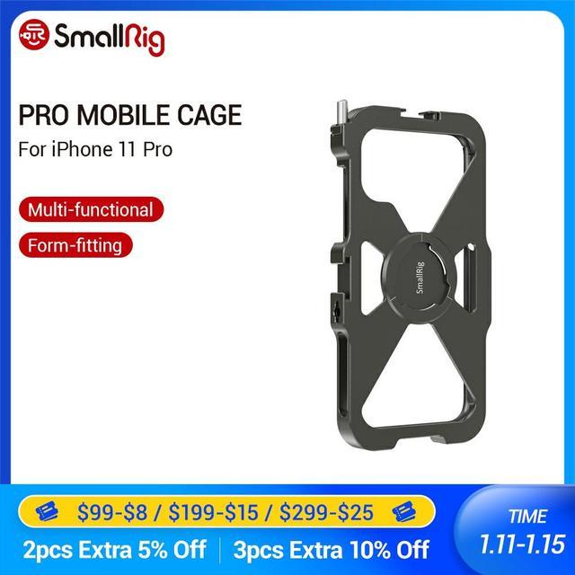 Smallrig pro gaiola móvel para iphone 11 pro vlogging acessório gaiola do telefone móvel com sapata fria montagem vlog jogo de tiro 2471