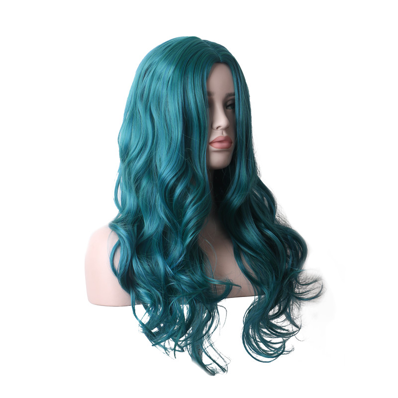 WoodFestival Womens Mix color Bright Blue Green Curly Synthetic Wig Heat Resistant Women Long Cosplay Wigs in Synthetic None Lace Wigs from Hair Extensions Wigs