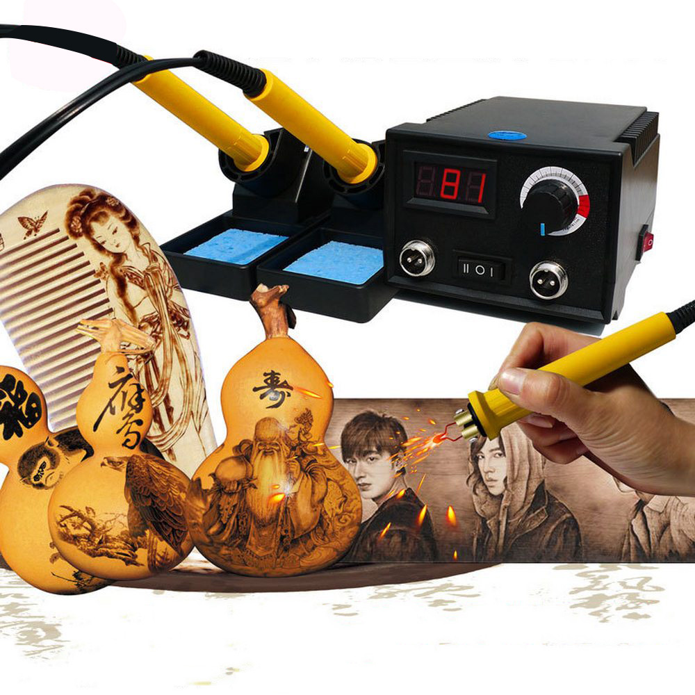 60W Wood Burning Machine Burner Pyrography Pen Gourd Crafts Tool Set With Welding Wire Top Adjustable Temperature 20 Wire Tips