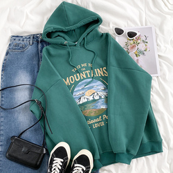 Mountain Letter Printed Green Hoodies Loose Thick Fleece Warm All-match Hooded Sweatshirt Autumn Tops