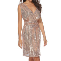 Plus Size Rose Gold Sequin Dress Women Clothes 2019 Sexy V Neck Sleeveless Evening Party Club Wear Short Mini Dress Vestidos