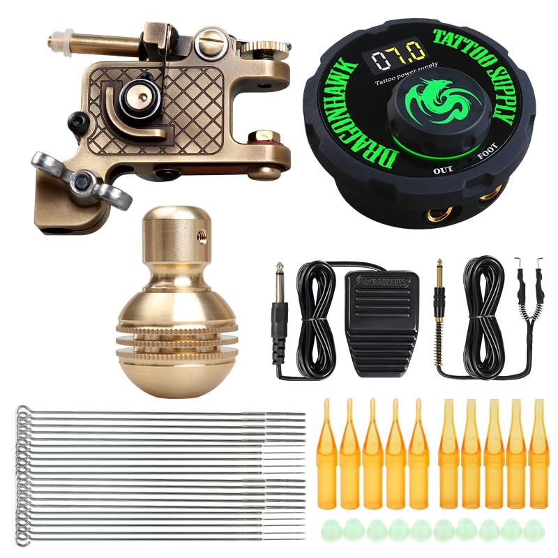 Dragonhawk Tattoo Kit Brass Frame Rotary Machine Power Supply Copper GP Grip