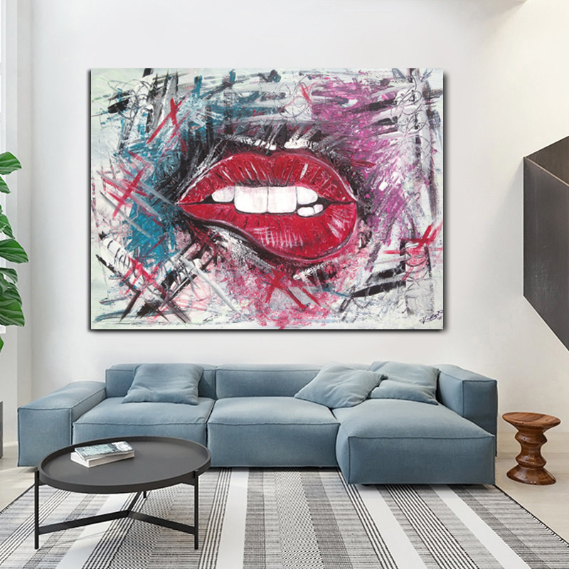Art Pop Art Lips Colourful Canvas Picture Print Wall Hanging Art Home Decor Medalex Rs