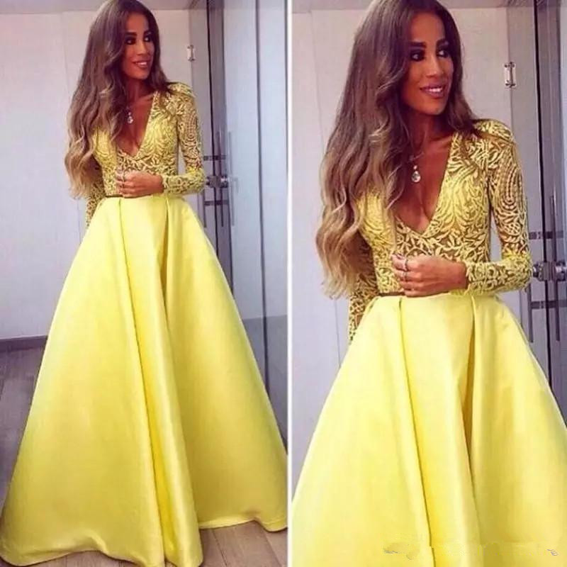 Dubai Abaya Evening Dresses 2020 With Lace Appliques Yellow Long Sleeves Formal Dress Elegant V Neck Prom Evening Gowns