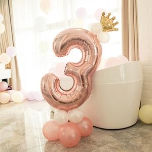 Image 3 - Leeiu Numero Foil Palloncini Palloncini Di Compleanno In Oro Rosa 1 2 3 4 5 6 7 8 9 Anni di Buon Compleanno decorazioni Del Partito Dei Capretti Palloncini