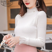 Sueter mujer invierno 2019 pull en tricot femmes pull à col roulé hiver femmes pulls harajuku solide blanc rose hauts 6483 90(China)