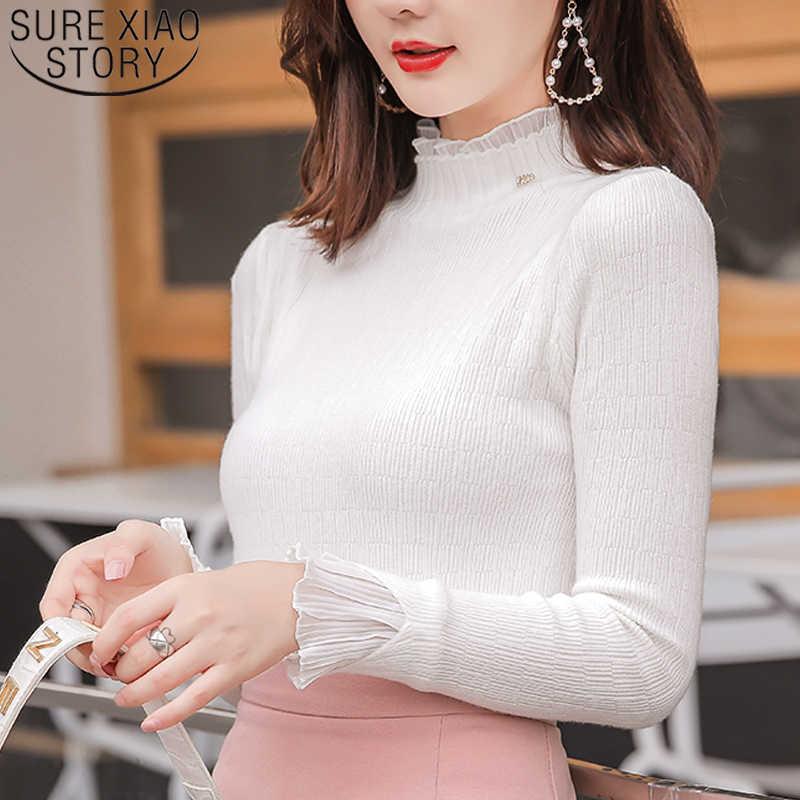 Sueter mujer invierno 2019 вязаный свитер женский свитер с высоким воротом зимние женские пуловеры harajuku однотонные Белые и розовые Топы 6483 90