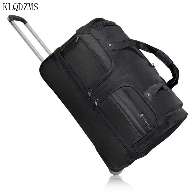 KLQDZMS 20''24''28 Inch Men's Hand Wheeled Suitcase Trolley Oxford Men's Portable Spinner Rolling Luggage Business Travel Bag