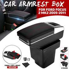 PUรถหนังCentral Armrest Arm Restกรณีกล่องเก็บสำหรับฟอร์ดโฟกัส2 Mk2 2005 2006 2007 2008 2009 2010 2011